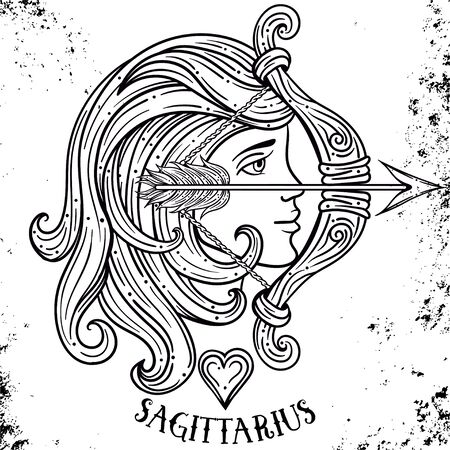 Beautiful line art filigree zodiac symbol.Black sign on vintage background.Elegant jewelry tattoo.horoscope symbol.Doodle mystic drawing with calligraphy lettering.Saggitarius.Line art vintage tattooo