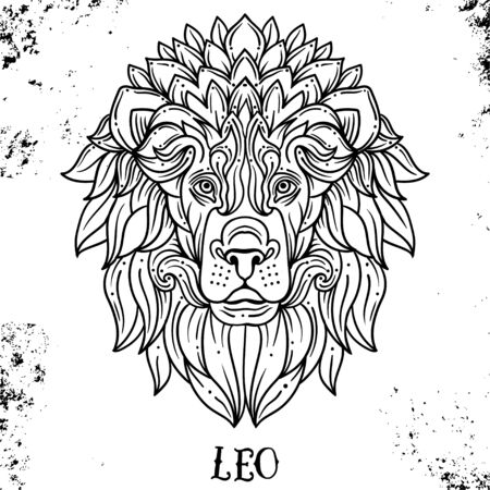Beautiful line art filigree zodiac symbol. Black sign on vintage background.Elegant jewelry tattoo.Engraved horoscope symbol or coloring book.Doodle mystic drawing with calligraphy lettering.Leo Иллюстрация
