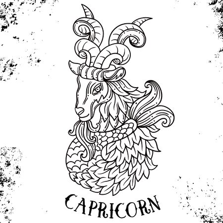 Beautiful line art filigree zodiac symbol. Black sign on vintage background.Elegant jewelry tattoo.Engraved horoscope symbol or coloring book.Doodle mystic drawing with calligraphy lettering.Capricorn