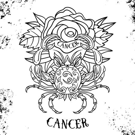 Beautiful line art filigree zodiac symbol. Black sign on vintage background.Elegant jewelry tattoo.Engraved horoscope symbol for coloring book.Doodle mystic drawing with calligraphy lettering.Cancer