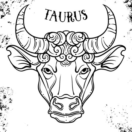 Beautiful line art filigree zodiac symbol. Black sign on vintage background.Elegant jewelry tattoo.Engraved horoscope symbol.Doodle mystic drawing for coloring book.Taurus