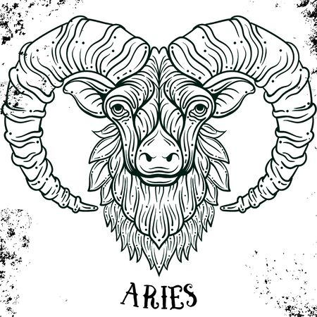 Beautiful line art filigree zodiac symbol. Black sign on vintage background.Elegant jewelry tattoo.Engraved horoscope symbol.Doodle mystic drawing for coloring book.Aries