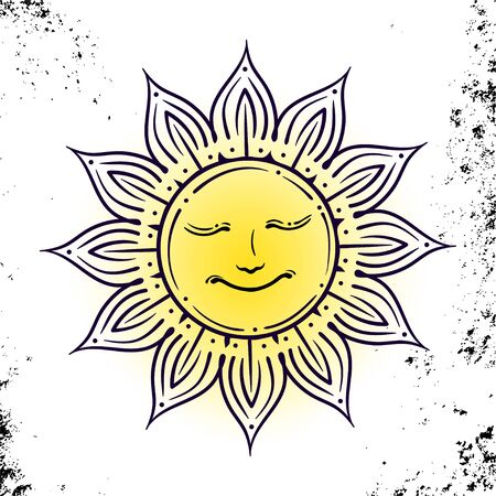 Vector geometric illustration of medieval sun. Alchemy symbol with eyes and face. Abstract occult and mystic sign. Linear logo and spiritual design. Concept of paganism, magic, religion, astrology Stock Illustratie