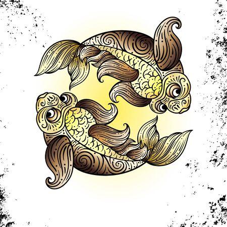 Beautiful line art filigree zodiac s sign on vintage background.Elegant jewelry tattoo.For printing Removable Temporary Tattoo Sticker Body Art Multicolor.Pisces. Line art vintage tattooo Stock Illustratie