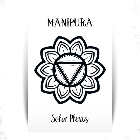 Chakra Manipura. For greeting cards, packaging or poster design , t-shirt print design. Vector illustration.Manipura icon. The third sun chakra. Line symbol. Sacral sign. Meditation Solar Chacra