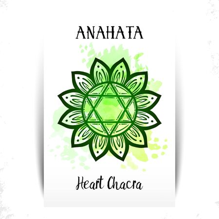 Vector illustration symbol chakra Anahata.Circle mandala pattern and lettering.Anahata chakra symbol used in Hinduism, Buddhism,Ayurveda.Heart chakra for yoga studios,posters, banners, tattoo line art Illustration