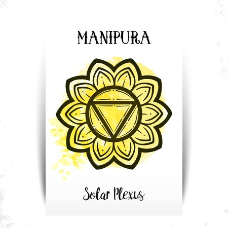 Chakra Manipura. For greeting cards, print design. Vector illustration.Manipura icon. The third sun chakra. Line symbol. Sacral sign. Meditation Solar Chacra. Yellow watercolor splashes. Çizim