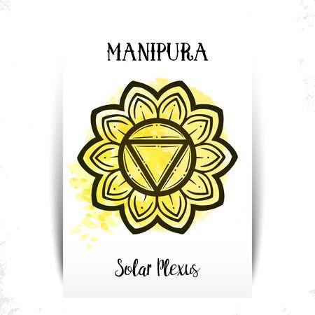 Chakra Manipura. For greeting cards, print design. Vector illustration.Manipura icon. The third sun chakra. Line symbol. Sacral sign. Meditation Solar Chacra. Yellow watercolor splashes. Stock Illustratie