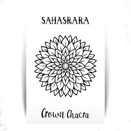 Seventh, crown chakra - Sahasrara. Illustration of one of the seven chakras. The symbol of Hinduism, Buddhism. Tattoo boho chic line art decor mandala