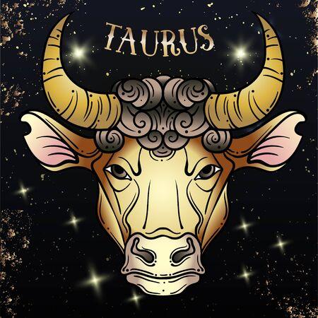 Beautiful line art filigree zodiac . Black sign on vintage background.Elegant jewelry tattoo.Engraved horoscope symbol.Doodle mystic drawing with calligraphy lettering.Taurus Stock Illustratie