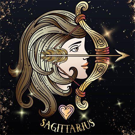 Beautiful line art filigree zodiac symbol. Black sign on vintage background.Elegant jewelry tattoo.Engraved horoscope symbol.Doodle mystic drawing with calligraphy lettering.Saggitarius Foto de archivo - 135304733