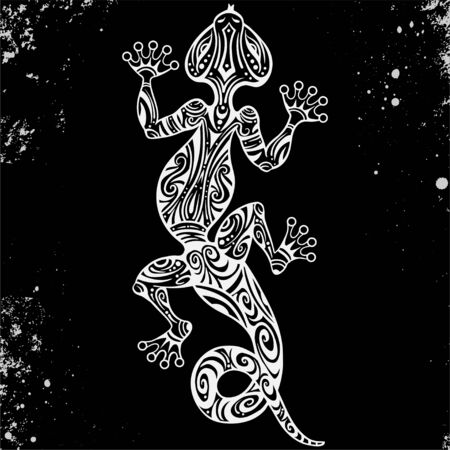 Vector drawing of a lizard or salamander with ethnic patterns of Aboriginal Australia. On the grange background. Image salamandy as a tattoo. Illustration