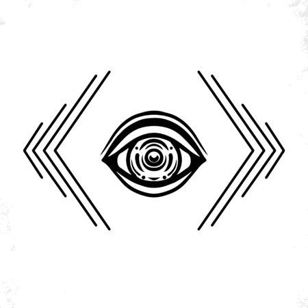 Oeil dessiné à la main. Style de griffonnage. L'illustration vectorielle du troisième œil. Vecteurs