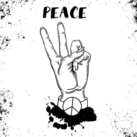 hand human with peace and love gesture - Vector Ilustrace