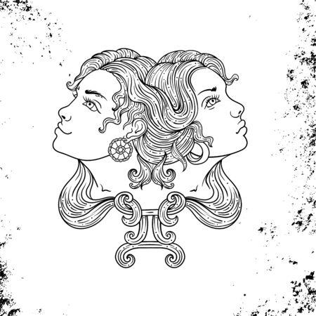Beautiful line art filigree zodiac Black sign on vintage background.Elegant jewelry tattoo.Engraved horoscope symbol.Doodle mystic drawing with calligraphy lettering.Gemini