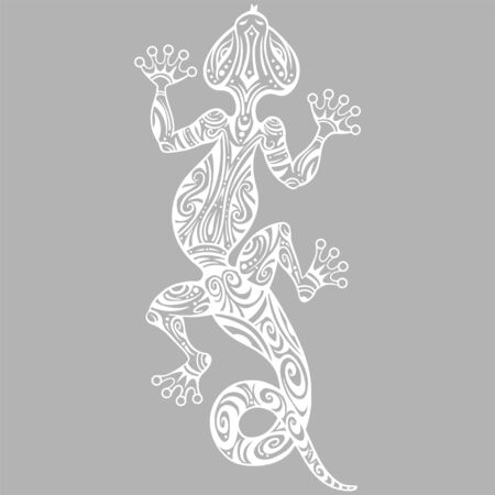 Vector drawing of a lizard or salamander with ethnic patterns of Aboriginal Australia. On the grange background. Image salamandy as a tattoo. Ilustrace