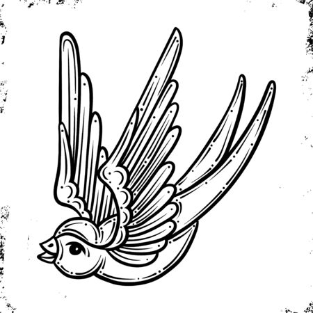 Swallow.Old School Traditional Tattoo. On Vintage background. Vector isolation.Good for printing youth fashion t-shirts and stickers. Salon Tattoo Emblem, Temporary tattoo decal