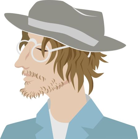 Young bearded man in a stylish hat. Hipster, professional artist. In glasses and a suit.Portrait. vector character