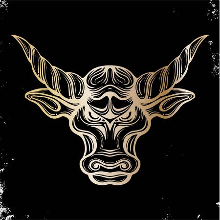 Head bull drawing line art logo design inspiration