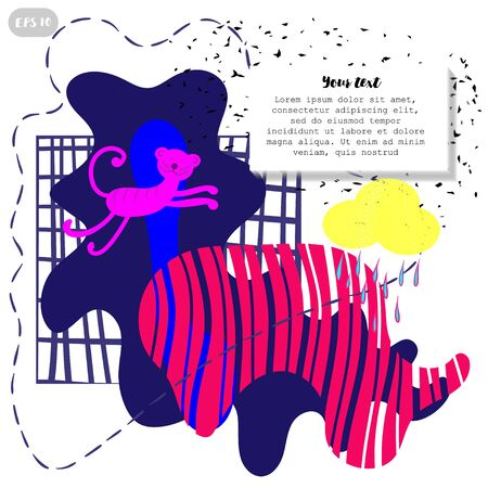 Geometric pattern design. Exotic colors, tiger on a bright colorful background. Bright juicy tones,all according to the layout, fashionable Memphis style and bizarre shapes. Foto de archivo - 132075129