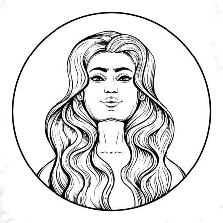 fashion beautiful woman with long wavy hair 矢量图像