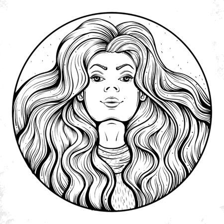 eps fashion beautiful woman with long wavy hair