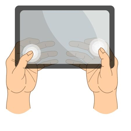 Transparent material touch mobile device.Realistic vector clipart. The thumb is grouped and moves separately. Set for animation.Touch screen tablet hands.Gestures of touch control.