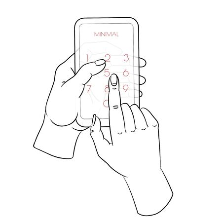 One continuous single drawn line art doodle mobile, phone, technology, gadget, communication, device, telephone, display, electronic, hand, smartphone, palm Foto de archivo - 141063718