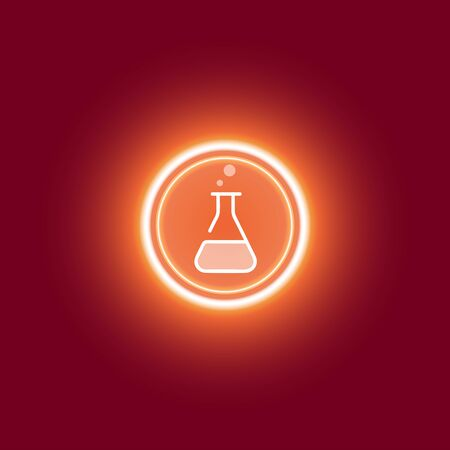 Chemical or medical research symbol icon.Linear bacteria, research, vial, test tubes vector illustration. Research,virus control. Flat illustration.Glowing yellow gold glitter on a red background.