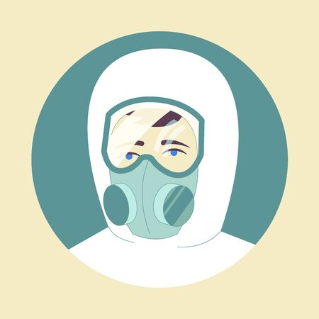 Man in goggles and a respiratory mask. Circle icon. Chemical protection suit, doctors clothes, virus protection. paramedic, chemical protection, bioprotection.Vector illustration. Ilustrace