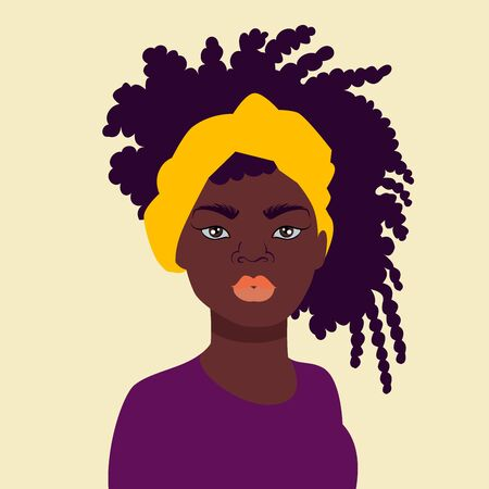 Vector illustration of a black woman face. Great for avatars, hairstyles for African American women. African american woman in bright clothes with a bandage on her head.Vector illustration.