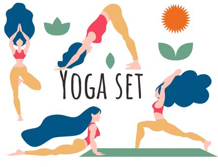 Set of yoga poses. Infographics.Greeting to the sun a set of exercises Surya-Namaskar.Tree pose, hero, downward-facing dog, snake pose. Flat character vector illustration. Good for animation. Ilustrace
