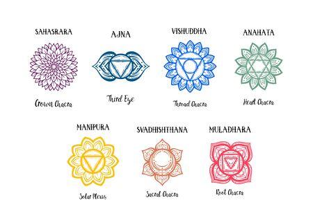 Isolated Set of beautiful decorative 7 chakras. manipura, anahata sahasrara ajna visudha svadhishdhana. Chakras and their original names. Vector. 矢量图像