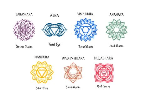 Isolated Set of beautiful decorative 7 chakras. manipura, anahata sahasrara ajna visudha svadhishdhana. Chakras and their original names. Vector. Illustration
