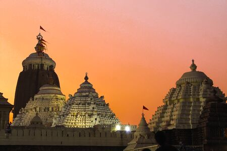 Famous Lord jagannath temple puri at night with colorful sky background Imagens