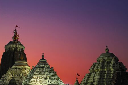 Famous Lord jagannath temple puri at night with colorful sky background unique wallpaper