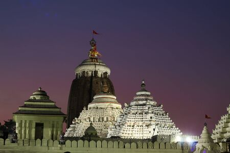 Lord jagannath temple puri at night with colorful sky background unique wallpaper