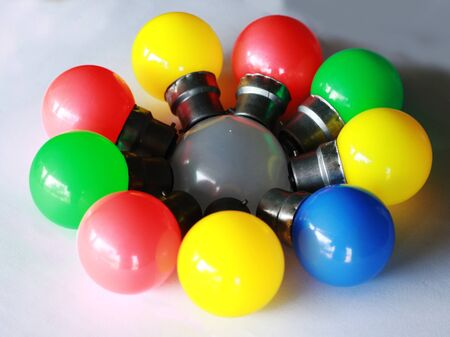 colorful electric bulb decorate in round shape Фото со стока