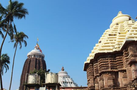 Lord Sri jagannath temple puri south gate view closeup historical famous place with blue sky and trees in day light beautiful location wallpaper travel photography