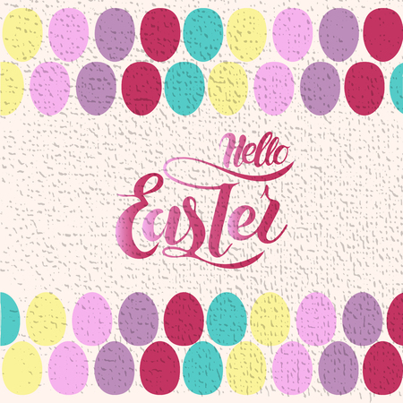 Vector illustration of Hello Easter  with the inscription for packing product to store, gift, message. shopping packaging. Inscription , invitation , banner template. Calligraphy background.  Illustration