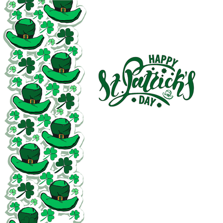 Vector illustration of St. Patricks day   with the inscription for packing product to store, gift, message. shopping packaging. Inscription , invitation , banner template. Calligraphy background.  Illustration