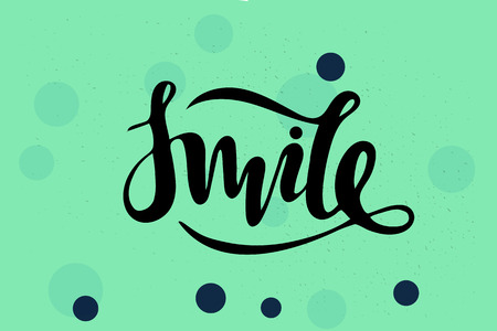 Vector illustration of smile inscription on turquoise background for your design