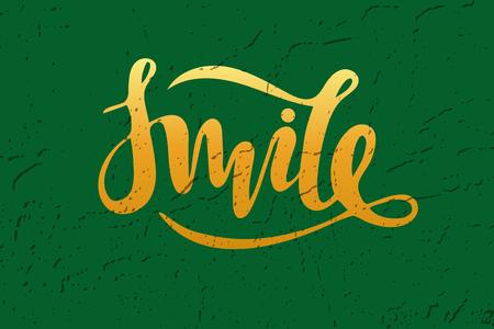 Vector illustration of smile inscription on green background for your design Illustration
