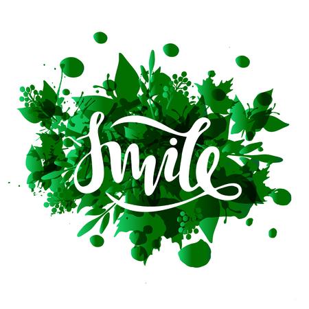 Vector illustration of smile inscription on green leafy background for your design Illustration