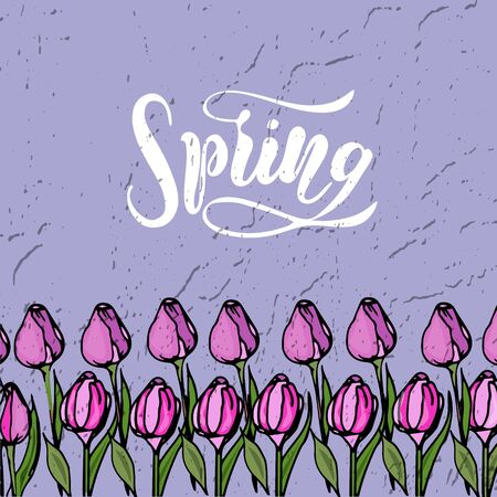 Vector illustration of Happy Spring with the inscription for packing product. Calligraphy background.