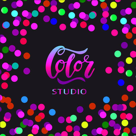 Vector illustration of Color studio   with the inscription for packing product to store, gift, message. shopping packaging. Inscription , invitation , banner template. Calligraphy background.