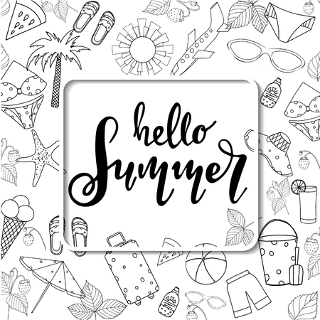 Summer lettering. Set hand drawn icons Stock Illustratie