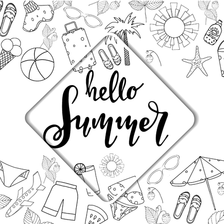 Summer lettering. Set hand drawn icons, signs and banners. Summertime poster. Collection Summer hand drawn elements for summer holiday and party. Summer Typographic. Vector illustration. Stock Illustratie