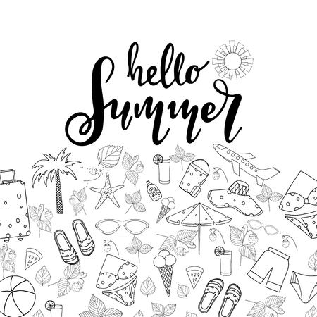 Summer lettering. Set hand drawn icons, signs and banners.