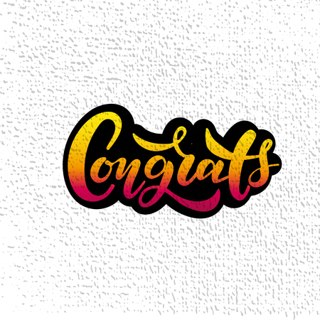 Hand sketched Congrats lettering typography. Drawn art sign. Motivational text.